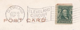 Cleveland Ohio Street Car RPO Railroad Postmark Cancel On 1908 Postcard - Postal History