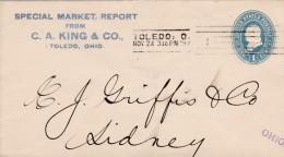 Sc#U294 1-cent Franklin Blue Entire Postal Stationery Cover, Toledo Ohio Machine Cancel - ...-1900