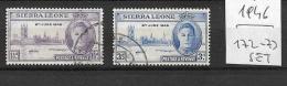 SIERRA LEONE       1946 End Of World War II  YV. 172-173   USED - Sierra Leone (...-1960)
