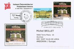 EUROPA AUTRICHE 2017 (Château De Schönbrunn), Sur Lettre FDC De Vienne Adressée ANDORRA,avec Timbre à Date Arrivée - Europa-CEPT