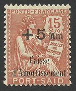 Port Said, 15 + 5 M. 1929, Sc # B4, Mi # 3, MH - Neufs