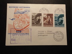 Vatikan Ersflug  LH Rom 1.4.1958 Nach Frankfurt Mit Mi. 283/84 + 286 S.scan - Vatican