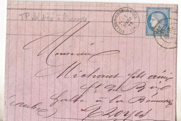 1875 Lettre, De Villers Bretonneux Pour Troyes, Le TP Est Oblitéré à L'arrivée.Peu Courant, Complet, Tb état. - 1849-1876: Période Classique