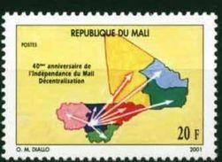 Mali 2001 40eme Anniversaire Independance Provinces 20 Fcfa, 1 Valeur, Mnh, Rare - Mali (1959-...)