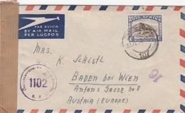 Zensurbrief Aus SÜDAFRIKA 1950 - Sondermarke Auf Flugpost-Brief (mit Inhalt) Gel.v.Johannesburg N.Baden B.Wien - Südafrika (...-1961)