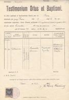 POLONIA 1939 - Testimonium Ortus Et Baptismi, 1 Zloty Stempelmarke, Dokumentgröße, Größe 34 X 21 Cm, Dokument Gefaltet - Historische Dokumente