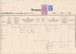 ROMANIA 1939 - Auszug Aus Der Tauf-Matrizel D.ev.Kirche, 2 + 7 Lei Stempelmarken, Größe 33,5 X 21 Cm, Dok.gefaltet - Historische Dokumente