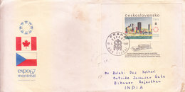 CZECHOSLOVAKIA FIRST DAY COVER 10.04.1967 - EXPO 1967, MONTREAL - COMMERCIALLY SENT TO INDIA, USE OF MINIATURE SHEET - Czechoslovakia