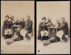 2 X GERMAN PHOTOCARD - DRINKING BEER - DRUNK - IVROGNE - BIERE - CARTES PHOTO ALLEMANDES - Musterschutz 4 & 5 - Cartes Postales