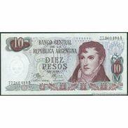 TWN - ARGENTINA 289d - 10 Pesos 1970-73 Serie A - Signatures: Mancini & Brignone AU - Argentine