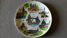 SOUVENIR OF LONDON - MONUMENTS -  ASSIETTE FAÏENCE - TOWER BRIDGE - BIG BEN - ST PAUL'S - PICCADILLY - BUCKINGHAM - Ceramics & Pottery