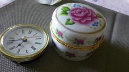 SEDAGYL - COFFRET PORCELAINE Rose Fleurs & METAL Doré - REVEIL DE VOYAGE - QUARTZ - FONCTIONNE - Alarm Clocks