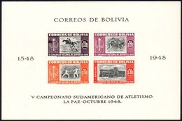 BOLIVIA 1951 - 5th SOUTH-AMERICAN ATHLETIC CHAMPIONSHIP - IMPERFORATED SHEET - EQUESTRIAN / BASKETBALL / FENCING - Briefmarken