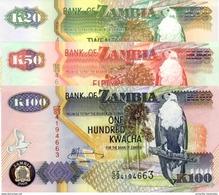 ZAMBIE 20 50 100 KWACHA 1992 - 2009 P-36 37 37 NEUF SET [ZM137-ZM139] - Zambie