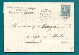Haute Saone - Lure Pour Bar Sur Aube.  SALINES, De GOUHENANS. 1870 - Marcophilie (Lettres)