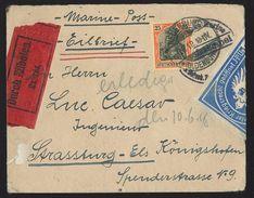 L Exprès Affr 25 Dr Càd NEUENBURG/1918 + étiqu Bleu … WILHELMSHAVEN Pour Strasbourg - 1877-1920: Semi Modern Period