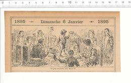 2 Scans Humour De1895 Le Jour Des Rois Sous Henri II Epiphanie / Tableau Peinture De Meissonier Joueur De Flûte 207PF3 - Vieux Papiers