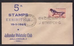 India Blue Magpie Birds 1969  5th Stamp Exhibition Special Cover  # 21358  India Indien Inde - Unclassified