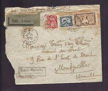 ENVELOPPE 1932 INDOCHINE HANOÏ TONKIN SAIGON MARSEILLE PAR AVION - Storia Postale