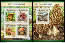 DJIBOUTI 2017 - Mushrooms, M/S + S/S. Official Issue - Paddestoelen