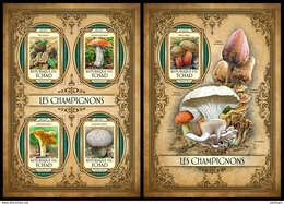 CHAD 2017 - Mushrooms M/S + S/S. Official Issue. - Paddestoelen
