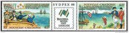 """Nle-Caledonie YT 561A Triptyque """" Rencontre Lapérousse Et Cdt Phillip """" 1988 Neuf** - Nouvelle-Calédonie"""
