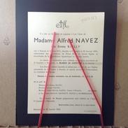 PAD. 123. Madame Alfred Navez Née Emma Bailly Née à Ressaix En 1875 Décédée à Péruwelz En 1955 - Décès