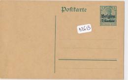"""Philatélie -Allemagne - Postkarte  Entier  Postal Deutsches Reich 5 Pfennig Vert Surcharge """" Belgien 5 Centimes"""" - Stamped Stationery"""