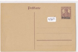 """Philatélie -Allemagne - Postkarte  Entier  Postal Deutsches Reich 15 Pfennig  Brun  Surcharge """" Danzig"""" - Deutschland"""