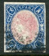Edifil 70, 12 Cuartos Azul Y Rosa Sin Dentar De 1865 Usado - Usados