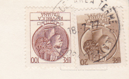 ITALIA 1977 SIRACUSANA L.100+L.20 SU CARTOLINA DA SANTA CESAREA TERME - 6. 1946-.. Repubblica