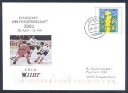 Germany 2001 Postal Stationery Cover: Ice Hockey Eishockey Hockey Sur Glace IIHF World Cup; Weltmeisterschaft Köln - Hockey (sur Glace)