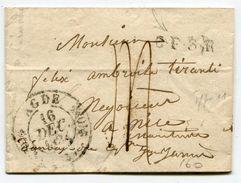 HERAULT De AGDE LAC Du 14/12/1834 Pour NICE Dateur T 11+ Taxe De 14 + Marque De Passage CF3R+ Verso Arrivée NICE 20 DIC - Marcophilie (Lettres)
