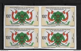 Proclamation De La République ** 1 Bloc De Quatre  Non Dentelé - Niger (1960-...)