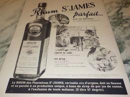 ANCIENNE PUBLICITE RHUM ST JAMES PARFAIT 1938 - Alcools