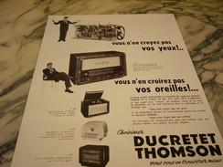 ANCIENNE PUBLICITE RECEPTEUR DE TSF DUCRETET THOMSON 1954 - Musique & Instruments