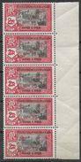 1943 INDE FRANCAISE 205** France Libre , Surchargé, Bloc De 5 - India (1892-1954)