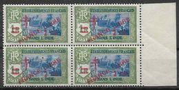 1943 INDE FRANCAISE 200** France Libre , Surchargé, Bloc De 4 - India (1892-1954)