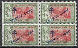 1941-43 INDE FRANCAISE 161** France Libre , Surchargé, Bloc De 4 - Indië (1892-1954)