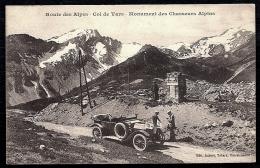 CPA ANCIENNE- FRANCE- MILITARIA- MONUMENT DES CHASSEURS ALPINS AU COL DE VARS- BEAU TACOT TRES GROS PLAN - Monuments Aux Morts