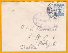 1931 - Enveloppe Du Quartier Général, Dublin, En Ville - YT 59 Bicentenaire De La Société Royale - Timbre à 2p Seul - 1922-37 Stato Libero D'Irlanda