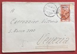 TRIESTE AMG - FTT AMBULANTE MESS.TRIESTE - VENEZIA SU LAVORO L. 25 BUSTA PER VENEZIA IN DATA 28/1/53 - Storia Postale