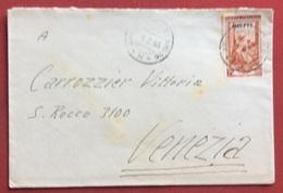 TRIESTE AMG - FTT AMBULANTE TRIESTE - MILANO * H *  SU LAVORO L. 25 BUSTA PER VENEZIA IN DATA  4/2/53 - Storia Postale
