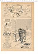 Humour De 1895 - Patinage Sur Glace Ronde De Nuit Ramassage Animaux Chat écrasé Moulin à Vent Lanterne Ancienne  CH207-4 - Vieux Papiers