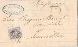 24640. Carta Entera BARCELONA  1870. Parrilla Numeral 2 . Alegoria - Cartas