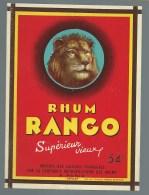 """Ancienne étiquette Rhum  Rango Superieur Vieux Compagnie Metropolitaine Des Rhums """"tete De Lion"""" Imp Wetterwald Bordeaux - Rhum"""