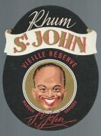 """Ancienne étiquette  Rhum St John Vieille Réserve  """"visage Homme"""" - Rhum"""