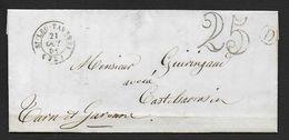 Seine Et Oise - Cachet  Type 15  ST LEU TAVERNY  + Taxe 25  Sur Lettre De 1851 - Storia Postale