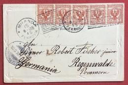 MILANO ESPOSIZIONE 1906 ANNULLO SPECIALE SU CARTOLINA PER LA GERMANIA :PALAZZO REALE SALA DELLE CARIATIDI - Esposizioni