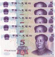 CHINA 5 YUAN 2005 P-903a  PREFIX FORMAT XX##. 5 PCS [CN4110a] - China